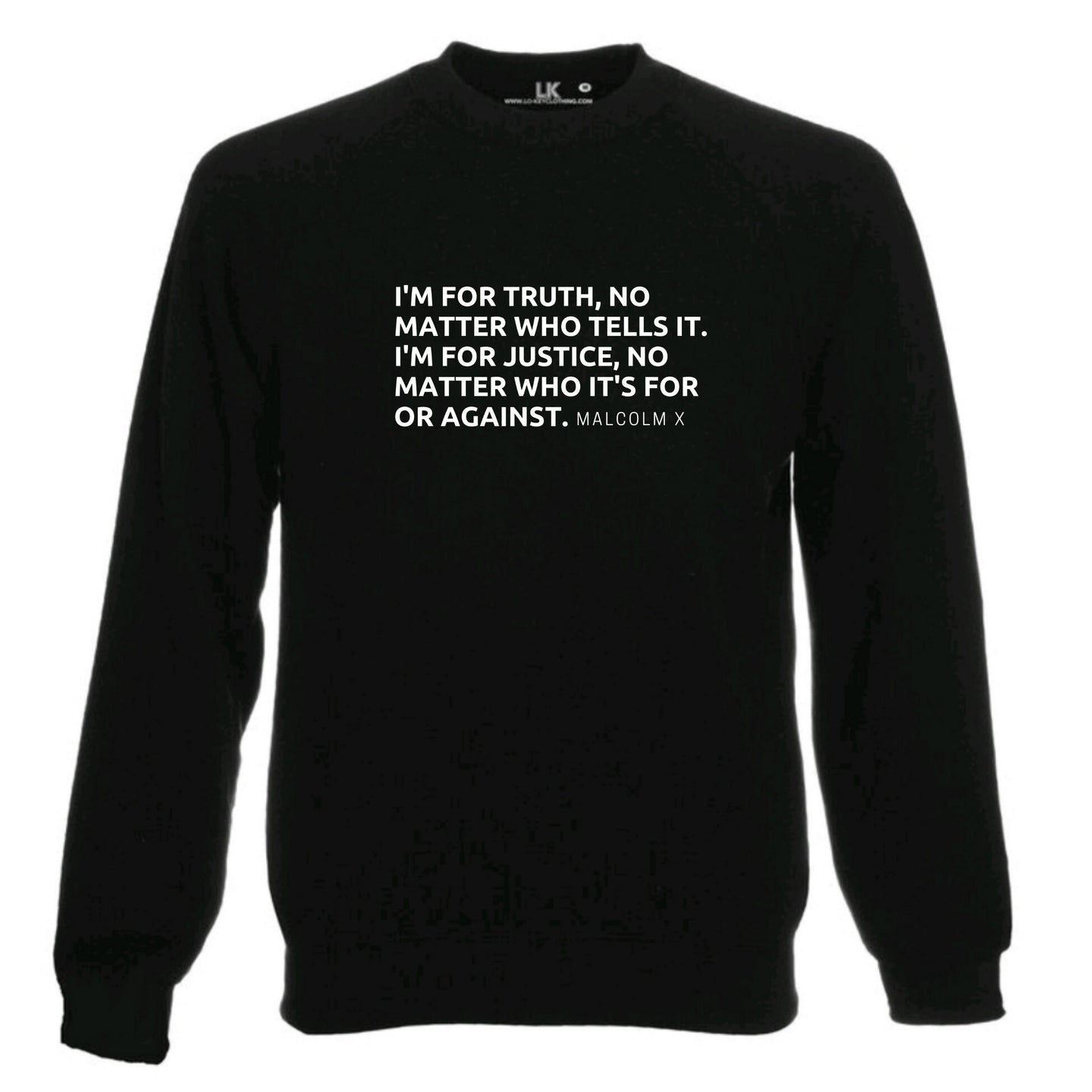Malcolm X Truth & Justice sweatshirt ladies mens