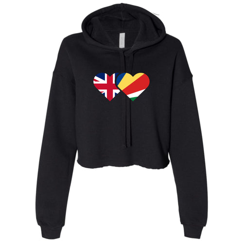 Ladies Personalise Mixed Heritage Hearts Cropped Hooded Sweater
