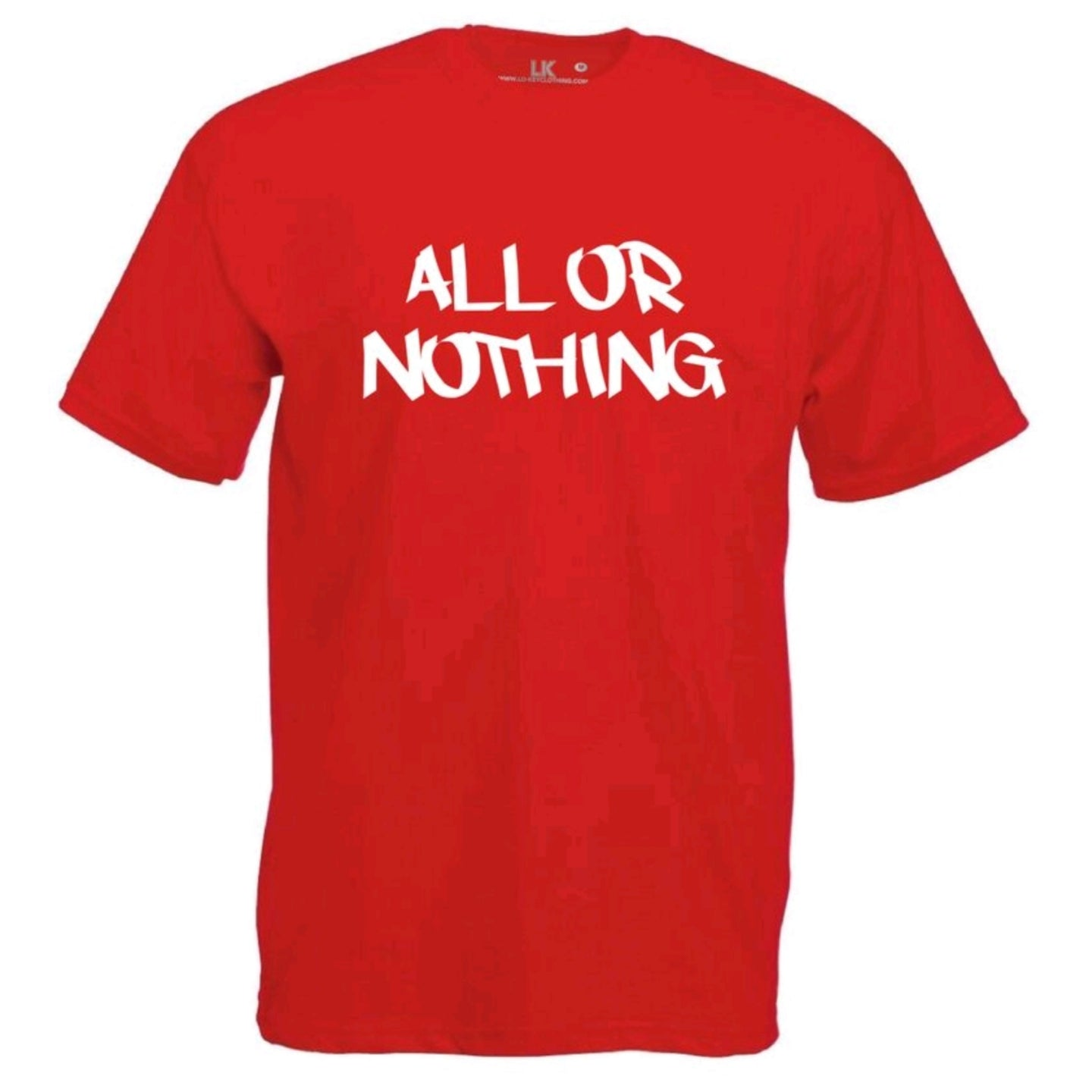 mens all or nothing slogan tee
