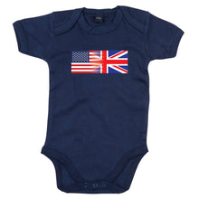 Load image into Gallery viewer, America and England Mixed Heritage Flag Babygrow