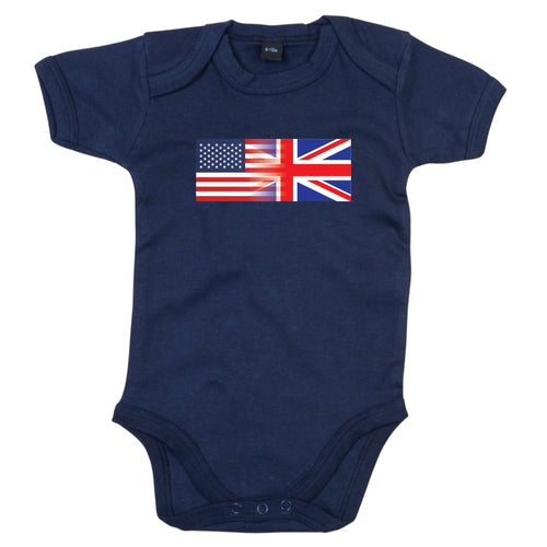 America and England Mixed Heritage Flag Babygrow