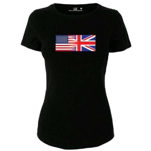 Ladies America and England Mixed Heritage Flag TShirt