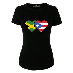 Women's Jamaican and Puerto Rican Flag T/Shirt Ladies Personalise