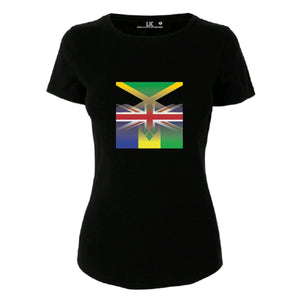 Women's UK, Jamaican & St Vincents Flag Blended TShirt
