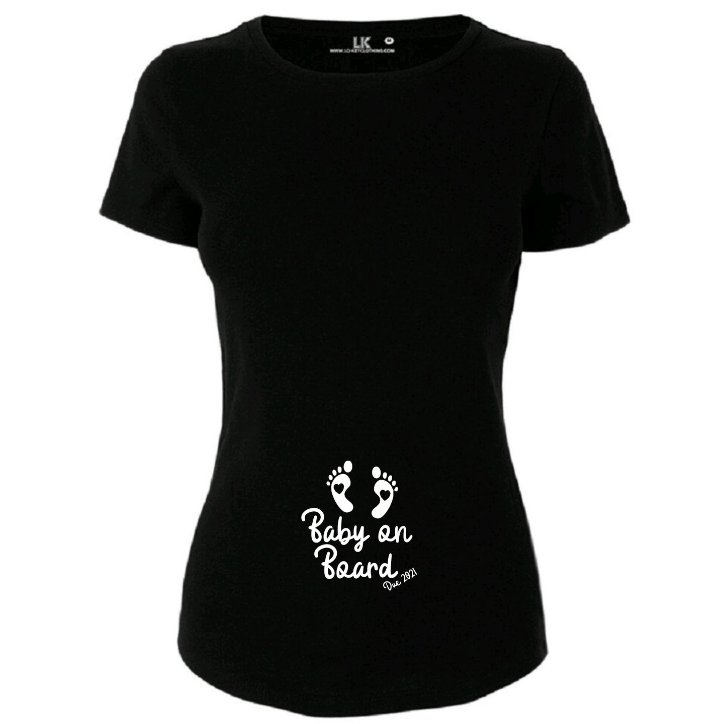 Ladies Baby On Board Due 2021 T/Shirt