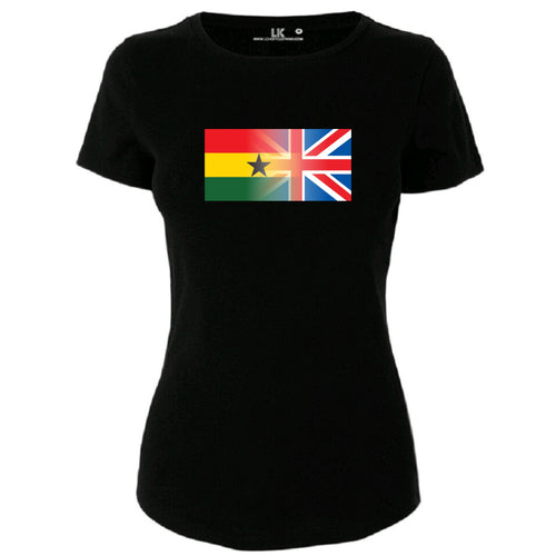 Ladies Personalised Mixed Heritage Flag T/Shirt