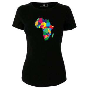 Ladies Africa Map Heritage T/Shirt - Rainbow