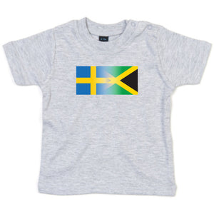 Personalise Mixed Heritage Flag Baby TShirt