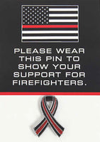 Thin Red Line Ribbon Pins on card