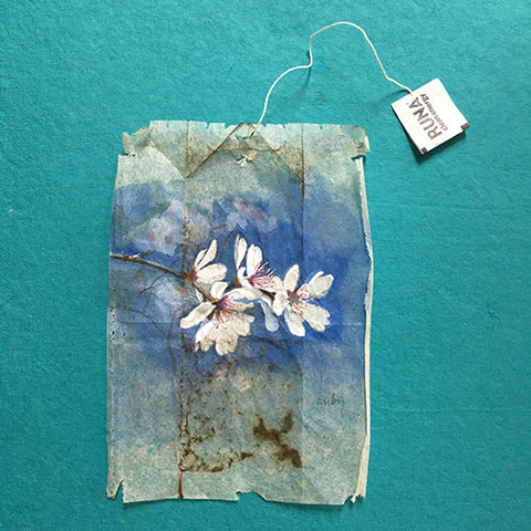 Ruby Silvious 26 Days of Tea in France Cherry Blossom Miniature Tea Bag Art