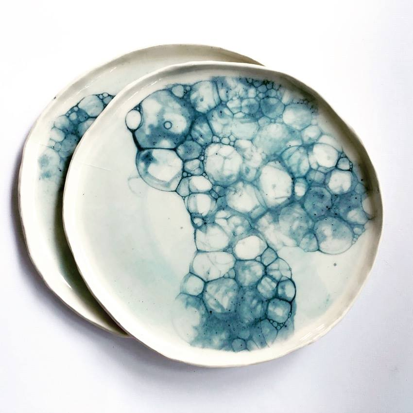 neens made this ceramic plate set new zealand made