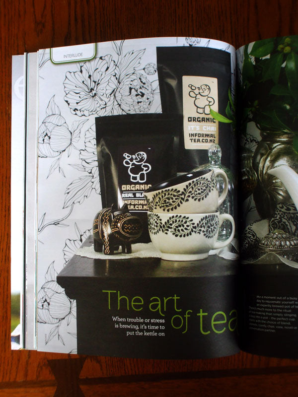 informal organic tea in good magazine