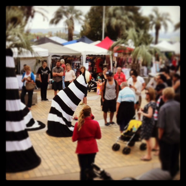 Zebra eyes costume on tauranga waterfront
