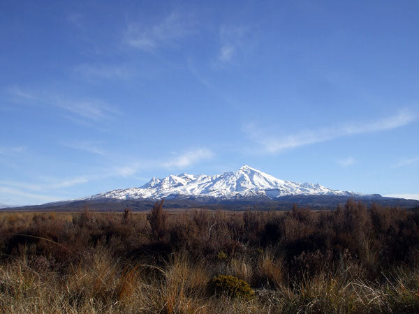 mt ruapehu on a nice beautiful cloudless day