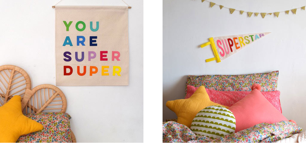 handmade banners, perfect for kids bedrooms