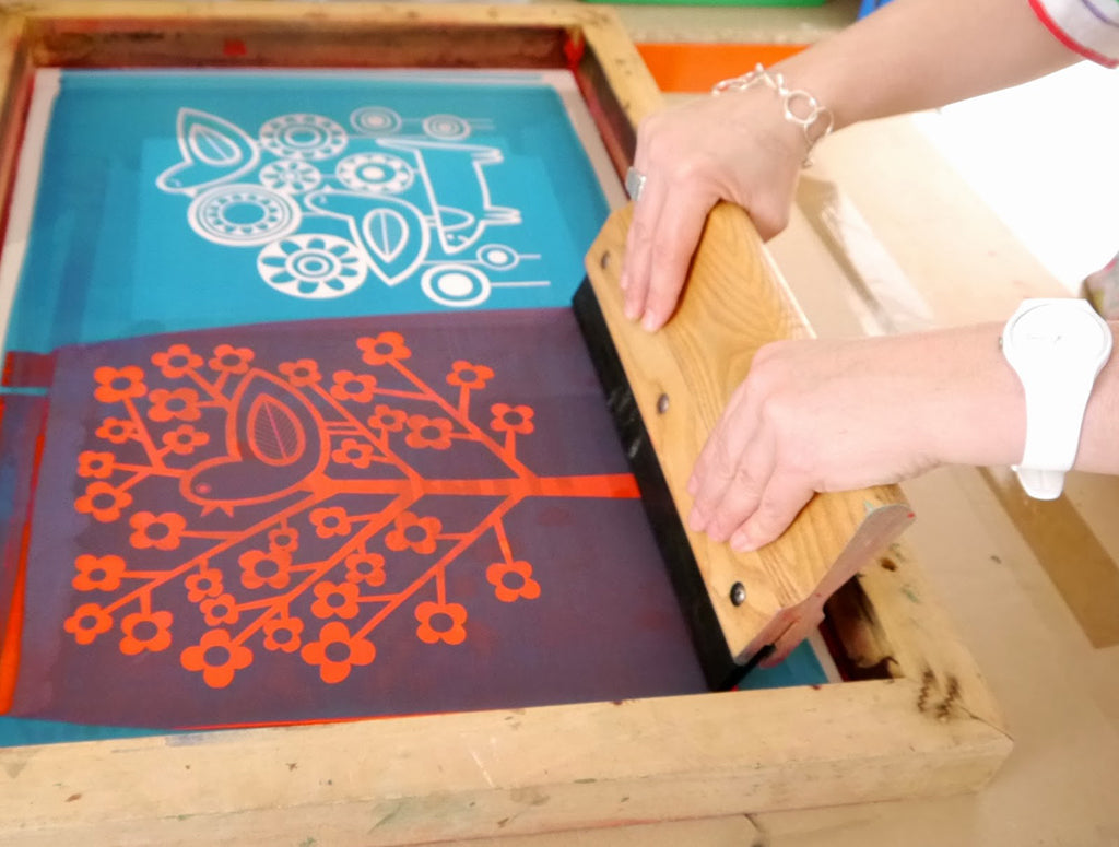 Screen Printing Jane Foster squeegee photo