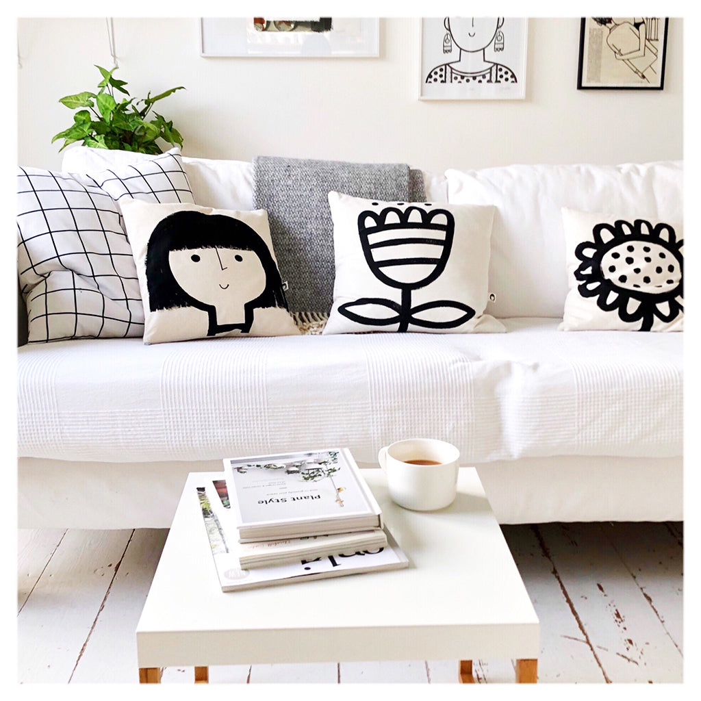monochrome home textiles by Jane Foster