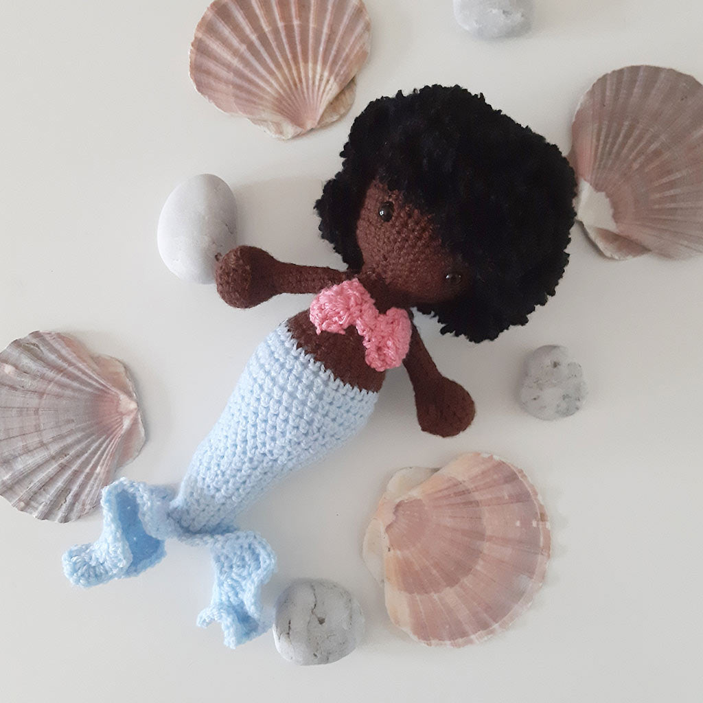 crocheted black mermaid by The Pigeon's Nest