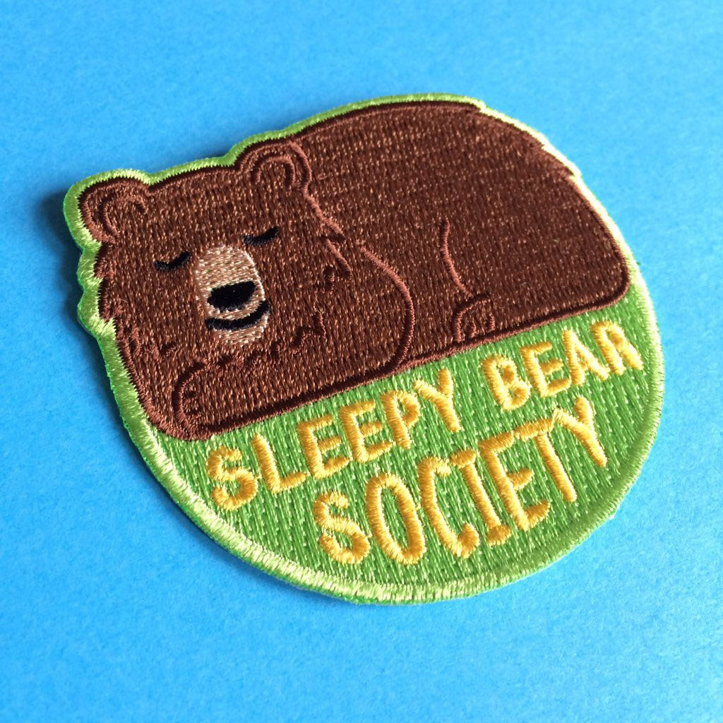 Sleepy Bear Society Iron On Patches - hello DODO