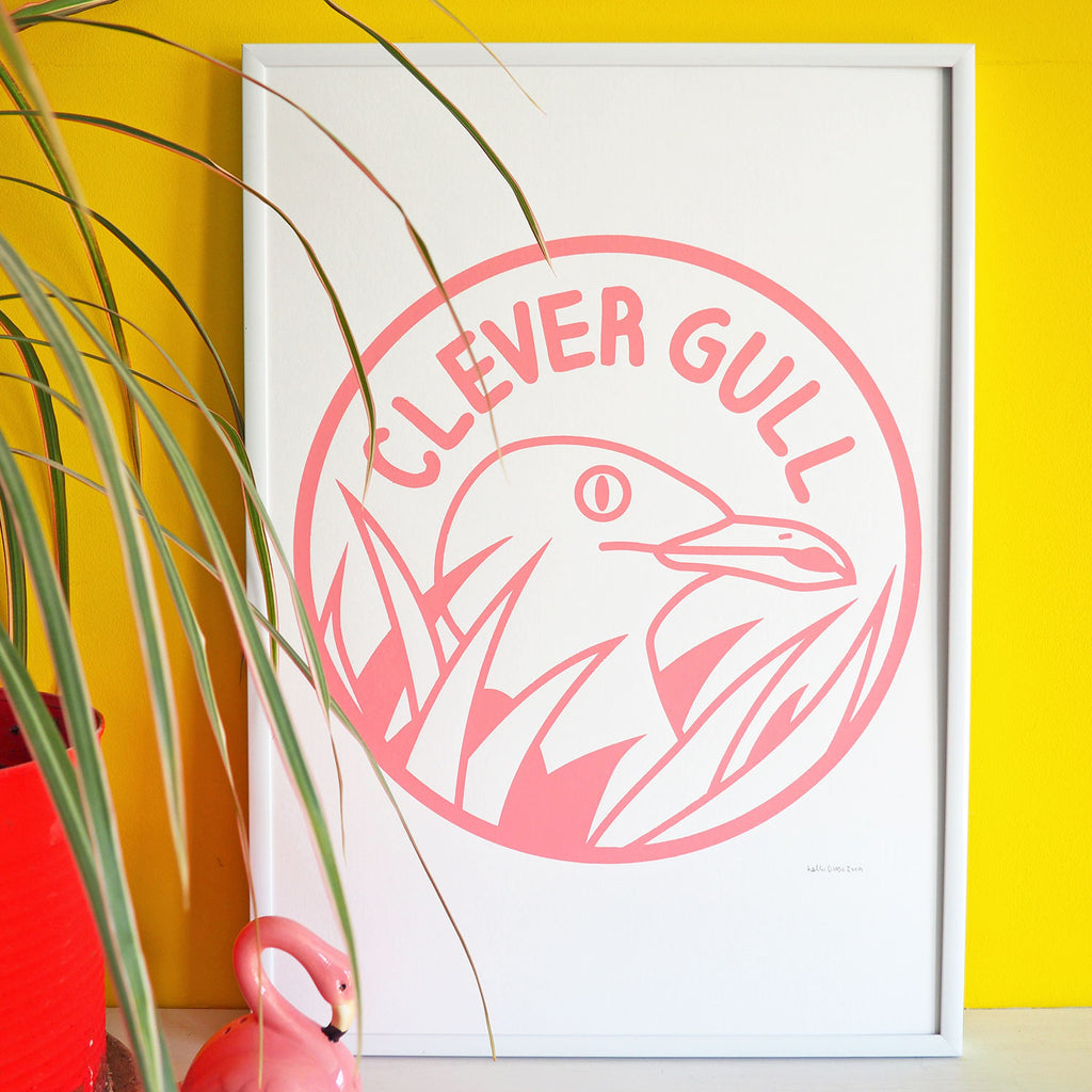 Clever Gull Screenprint - hello DODO