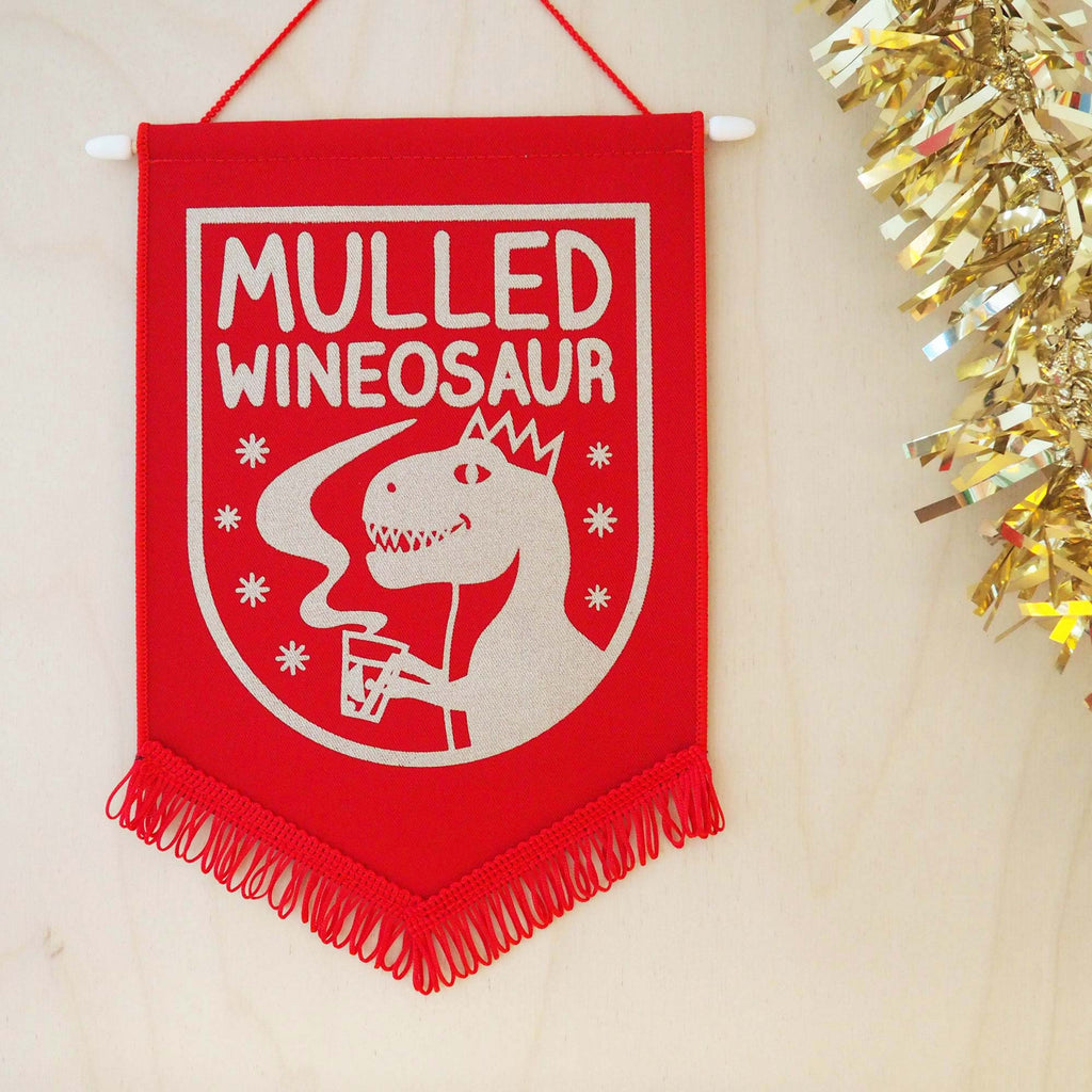 Mulled Wineosaur Christmas Pennant Decoration