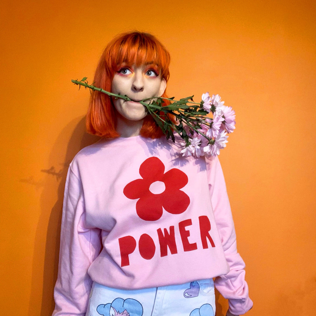 Flower Power Unisex Sweatshirt in Pink