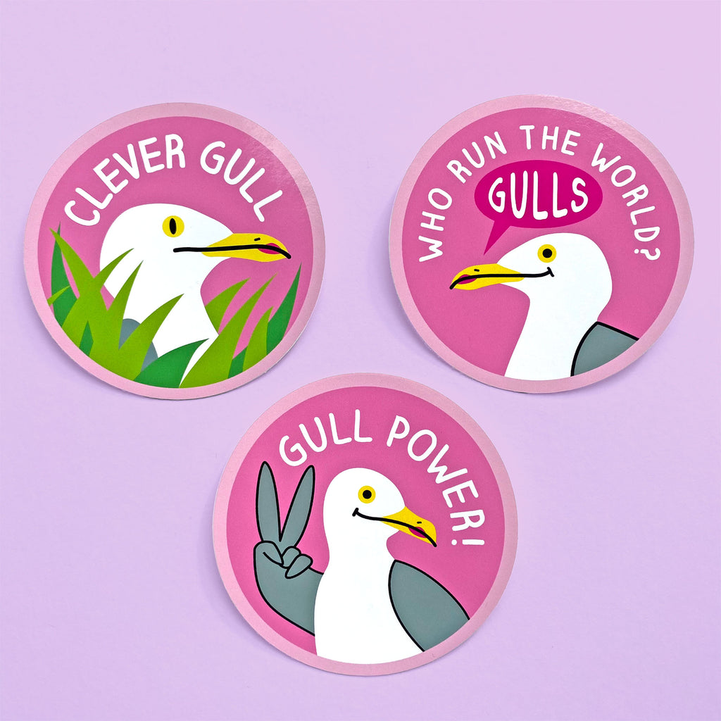 Pack of 3 - Seagull Vinyl Stickers