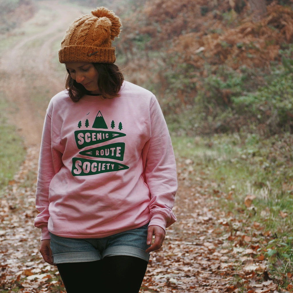 Scenic Route Society Unisex Sweatshirt in Pink