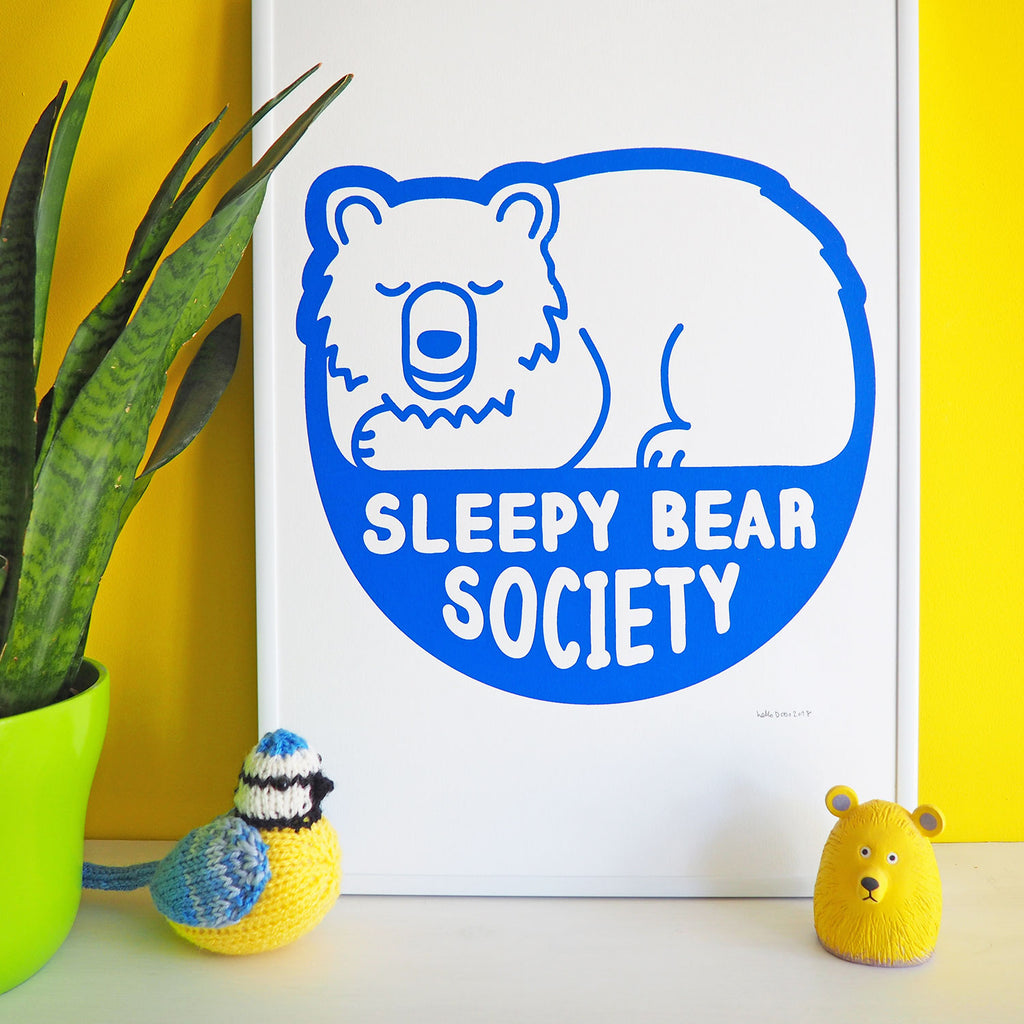 Sleepy Bear Society Screenprint - hello DODO