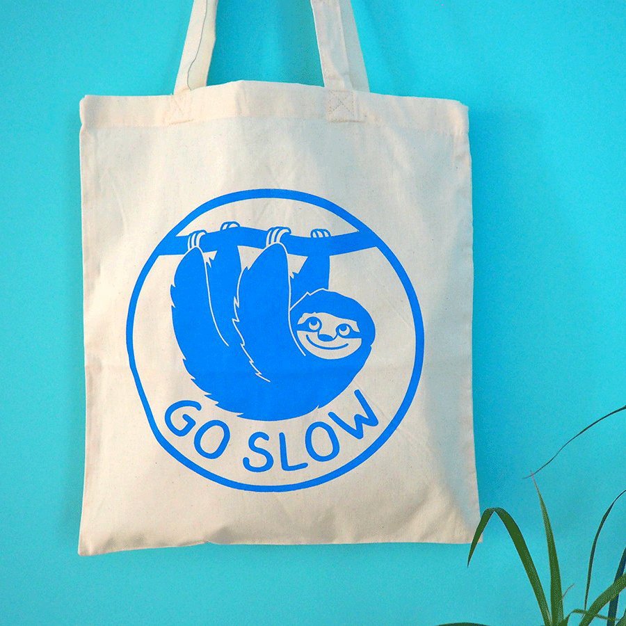 Go Slow Sloth Tote Bag - hello DODO