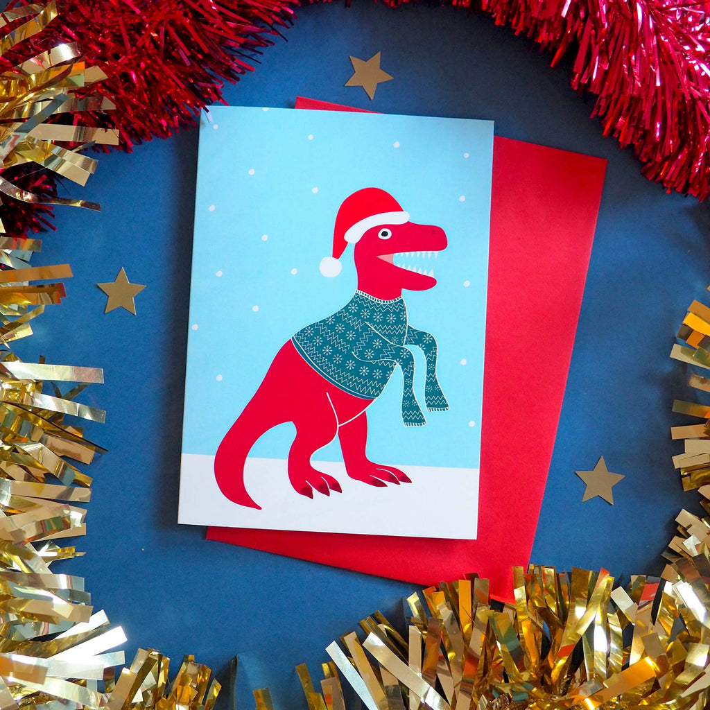 Festive Dinosaurs Christmas Card Pack