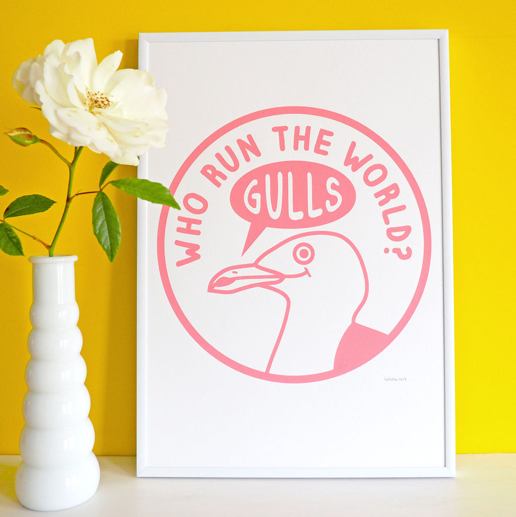 Who Run The World Gulls Screenprint - hello DODO