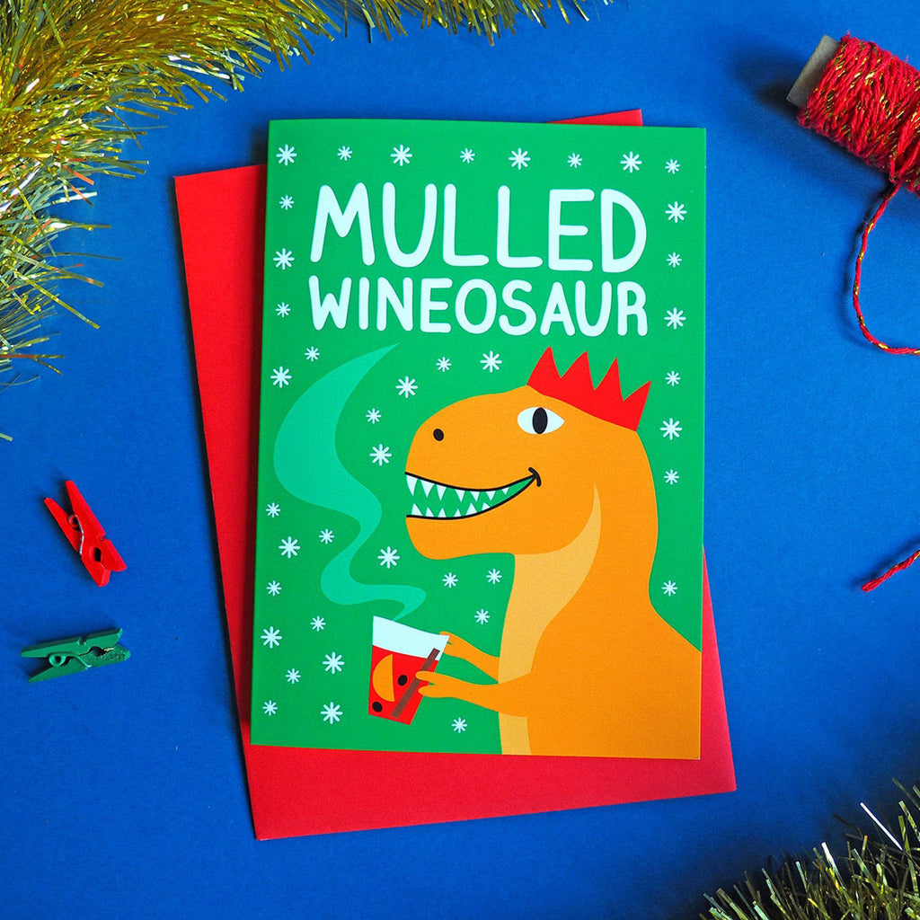 Christmas Dinosaur Card 'Mulled Wineosaur'