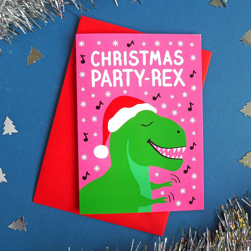 funny Christmas dinosaur card by hello DODO