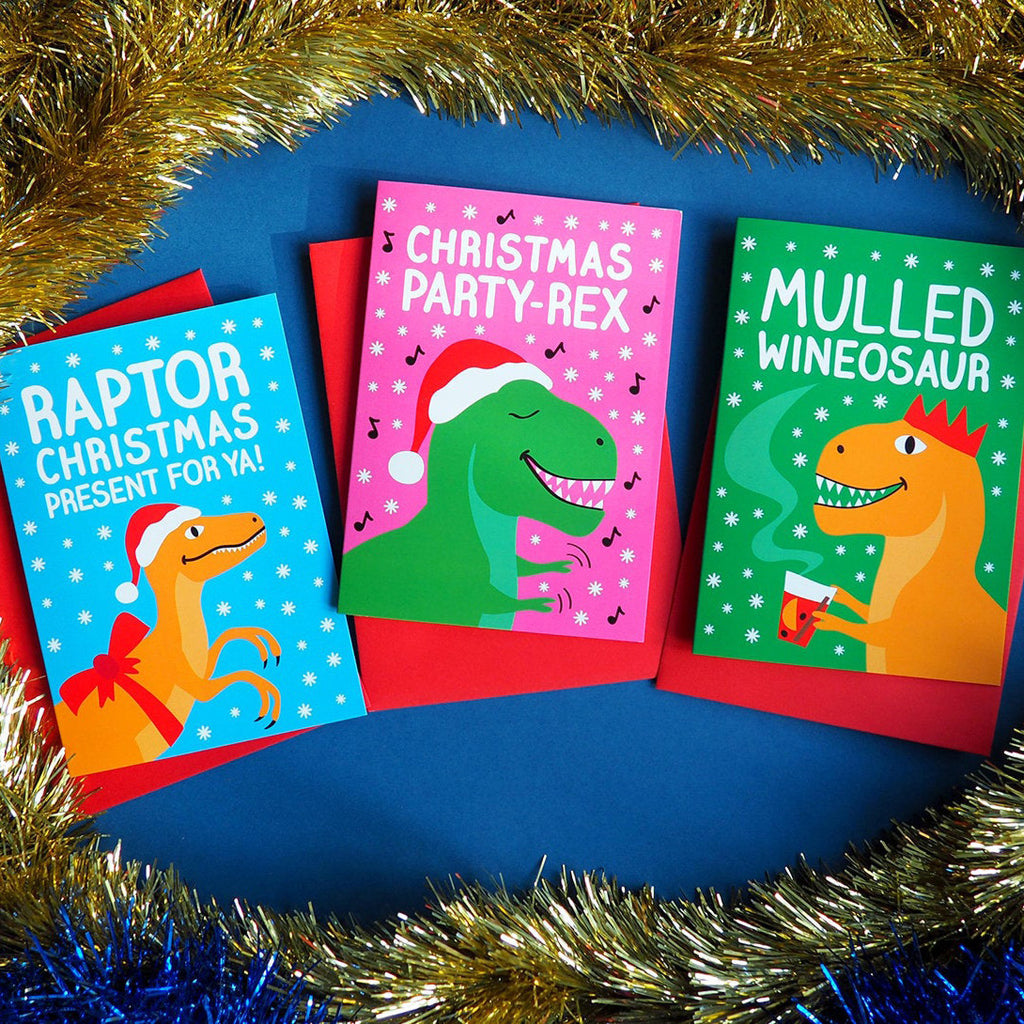 Mulled Wineosaur Dinosaur Christmas Card