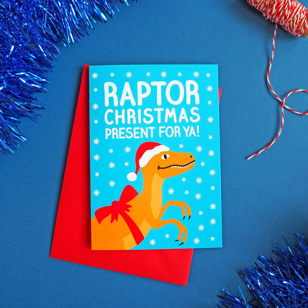 Raptor Christmas Present For Ya Dinosaur Christmas Card