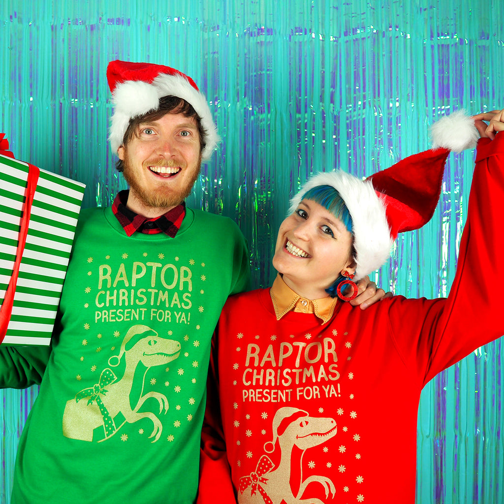 'Raptor Christmas Present For Ya' Dinosaur Christmas Jumper