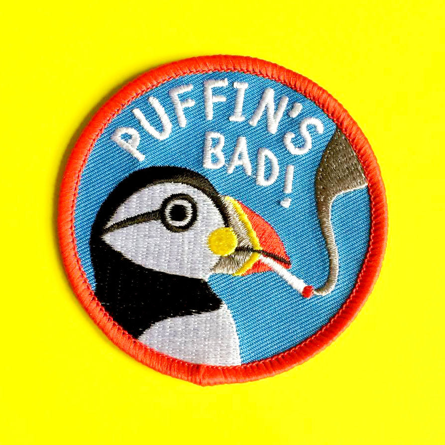 Puffin's Bad Iron On Patch - hello DODO