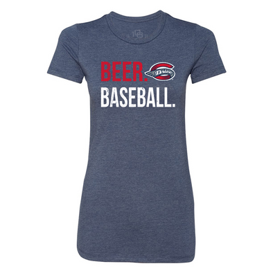 Greenville Drive 108 Stitches Women's Navy Beer & Baseball Tee