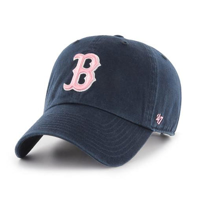 Boston Red Sox 47 Brand Women's Navy Clean Up Hat w/Pink B
