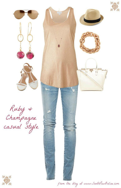 Ruby and Champagne casual style