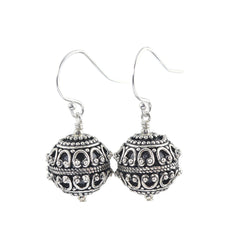 Round Sterling silver Bali dangle earrings
