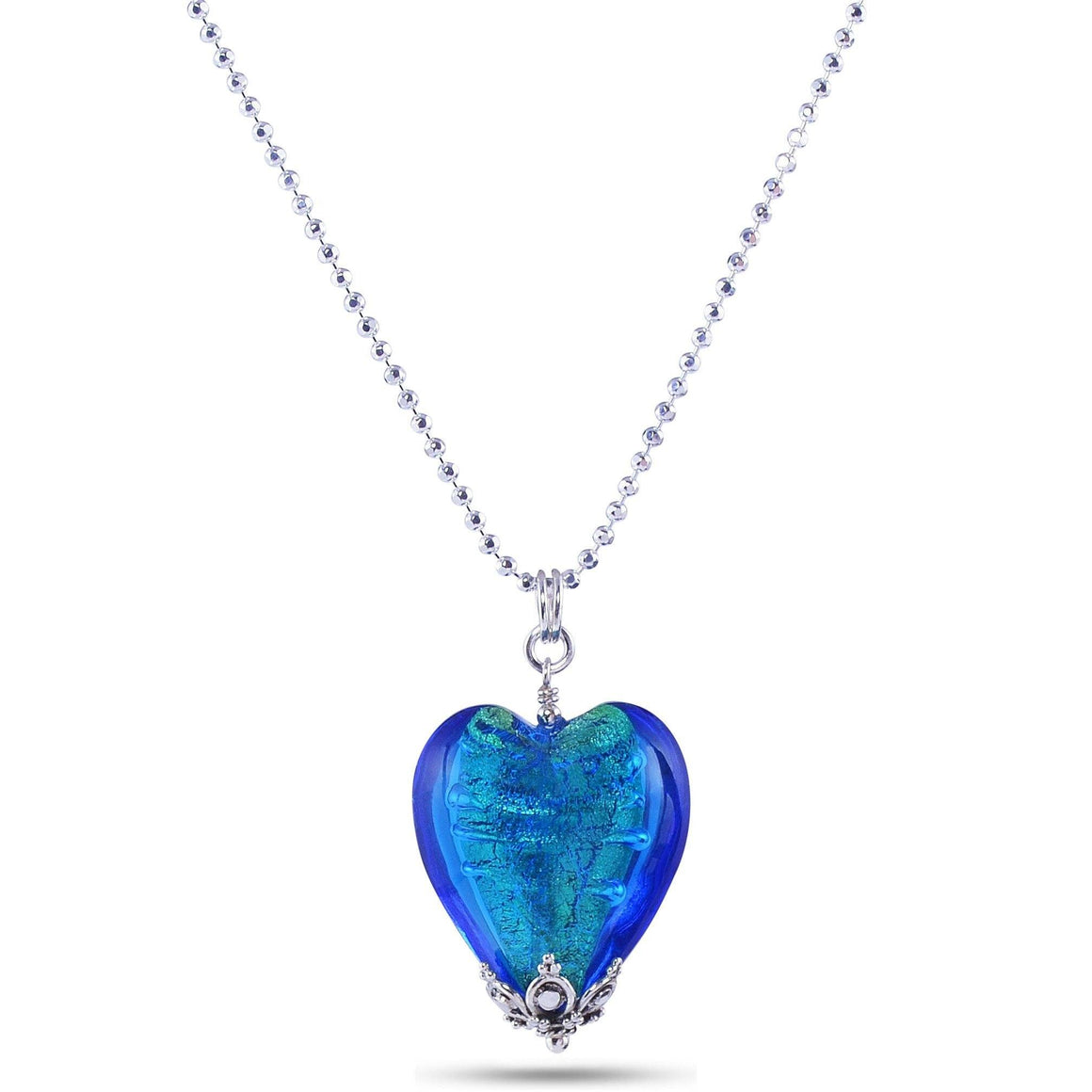 Blue Murano Glass Heart Necklace