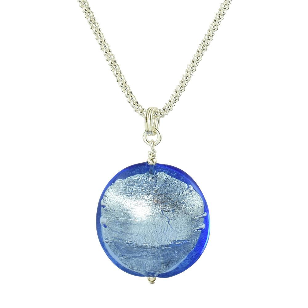 Blue Murano Venetian glass sterling silver necklace