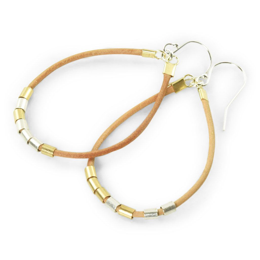 Brown Leather hoop earrings with gold and sterling silver accents