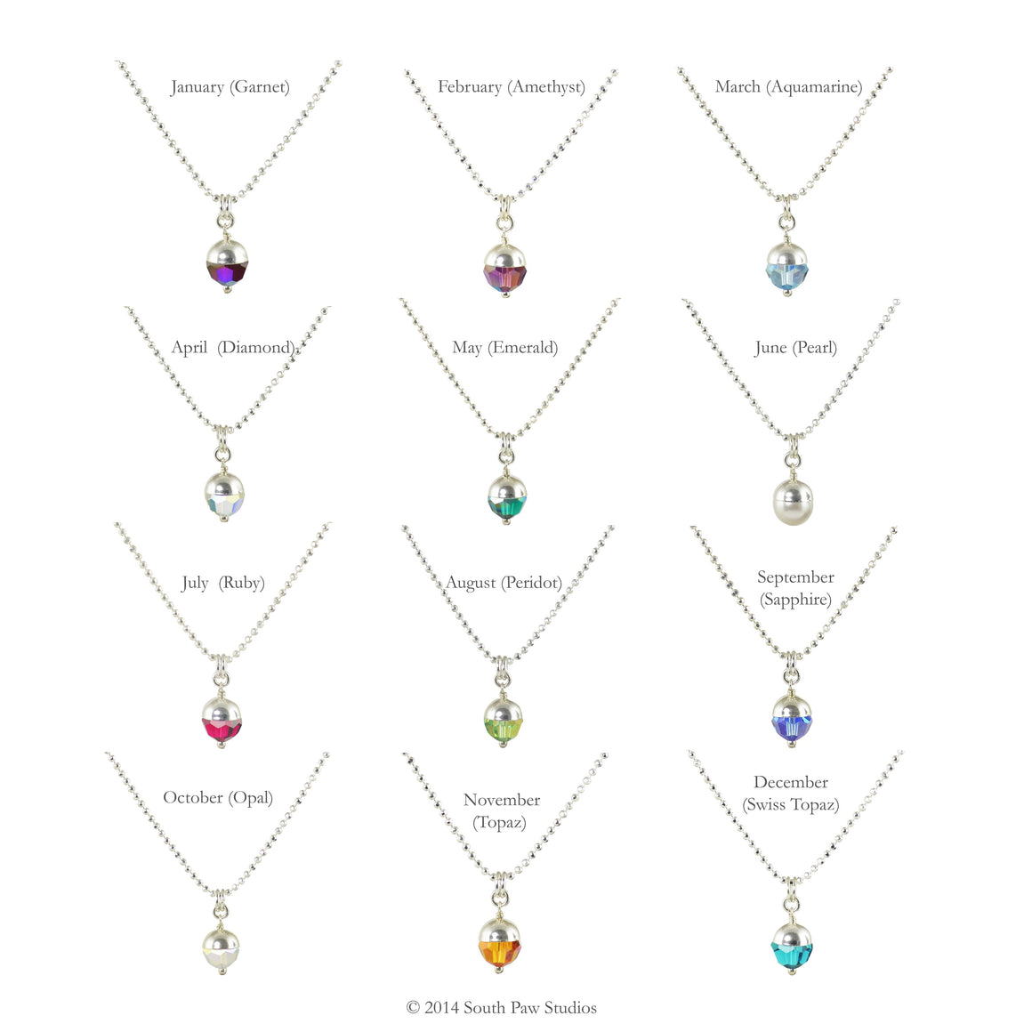 Birthstone Pendants made of Swarovski crystals on sterling silver chain