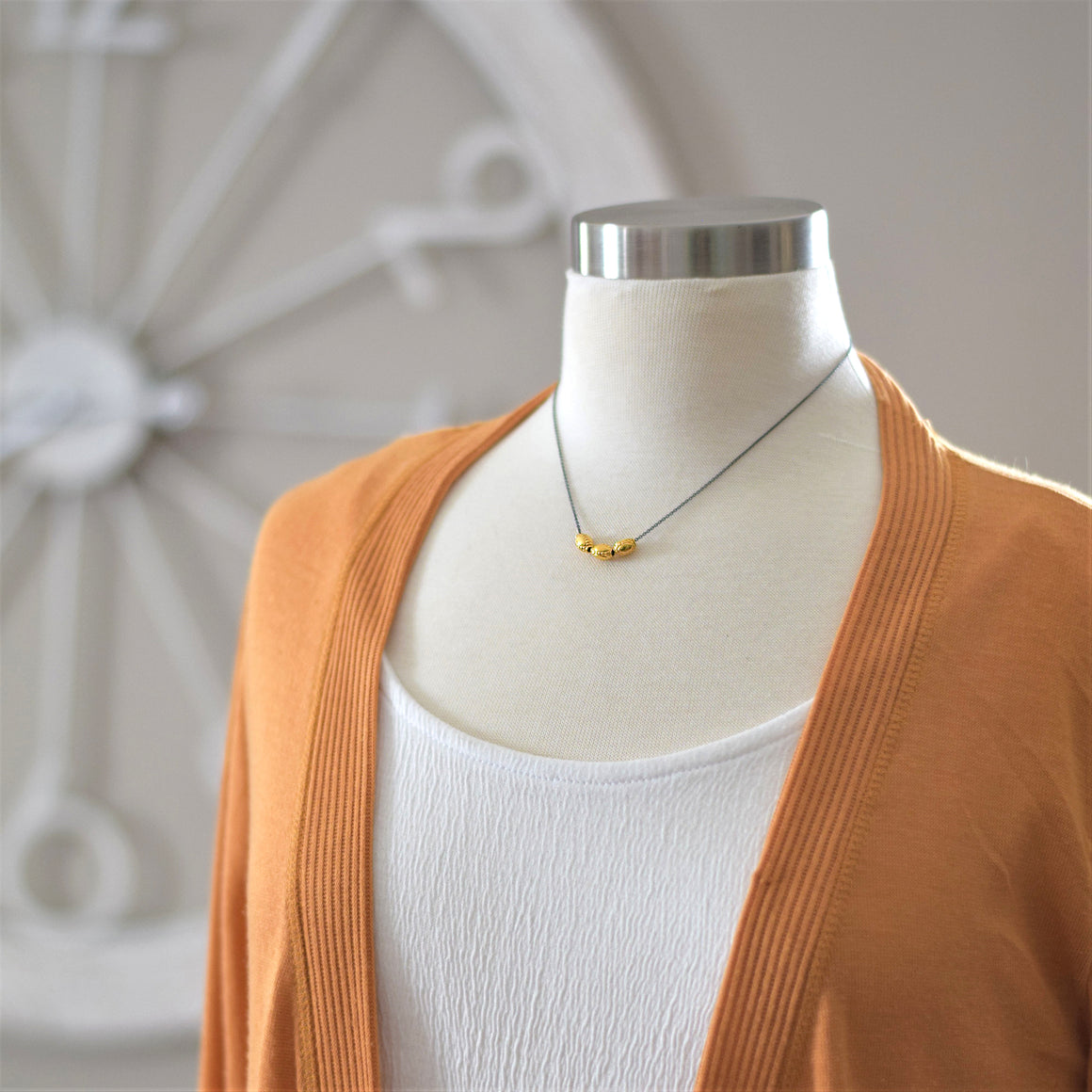Vermeil triple sliding dainty necklace on sterling silver chain