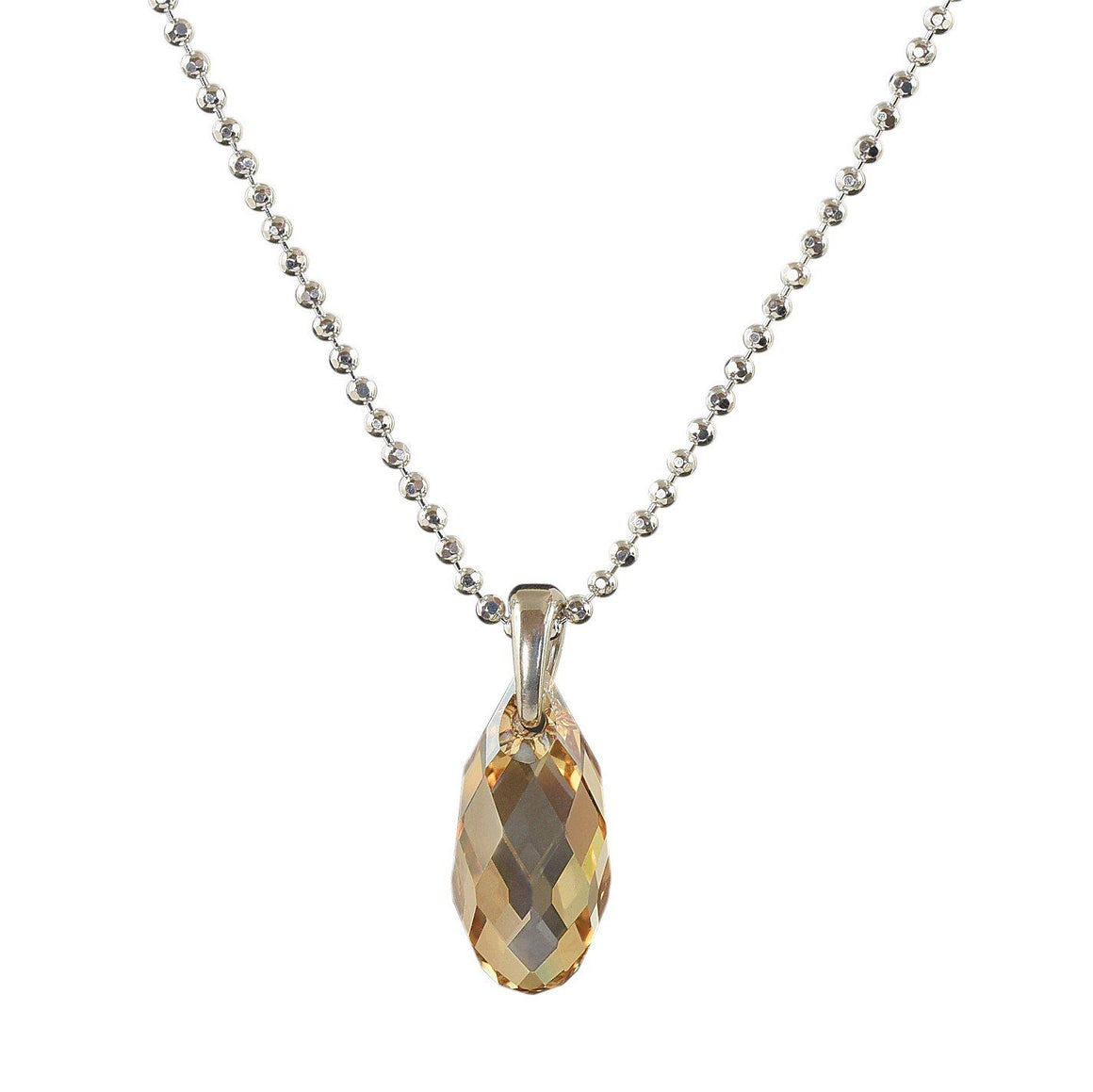November Birthstone necklace light Topaz crystal on silver chain