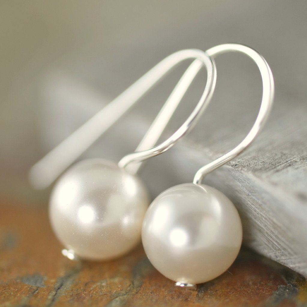 White Swarovski pearl earrings in honor of Wounded Warrior Project