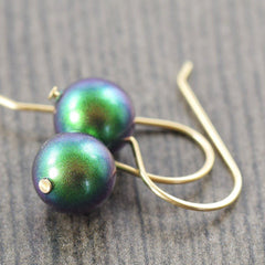Emerald green Swarovski pearl earrings in honor of giving back St Judes